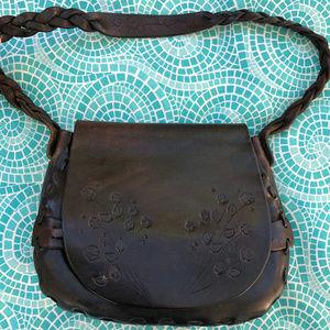 Handmade Tooled Leather Saddle Shoulder Bag VTG